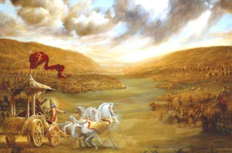Krishna-Arjuna-battle (hinduhumanrights.info)